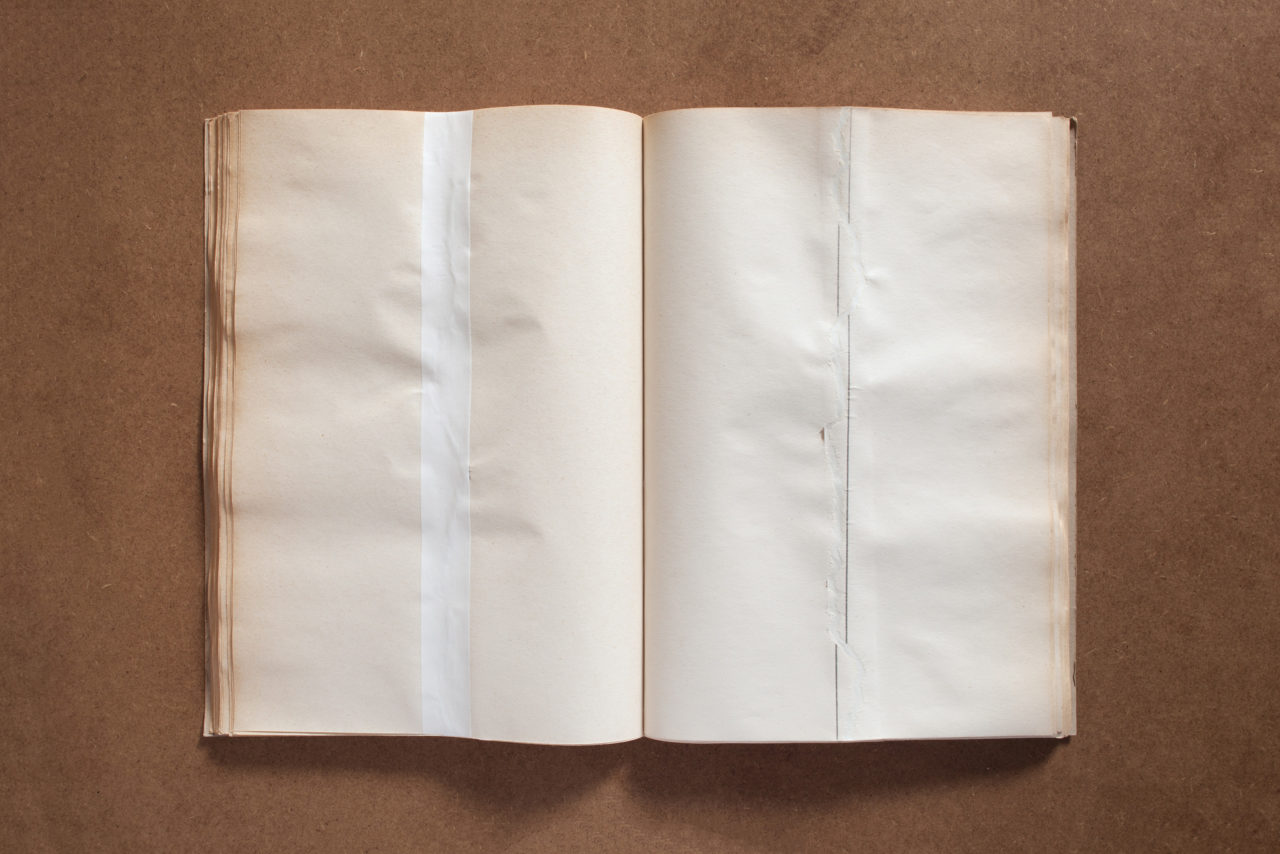Barbara Schmidt Heins, untitled (Used pencil and ruler to draw vertical lines across the whole middle length of the pages. Attempted to rip the pages along the drawn lines. Afterward glued the pages together again alongside the back with white adhesive paper tape) (1972)