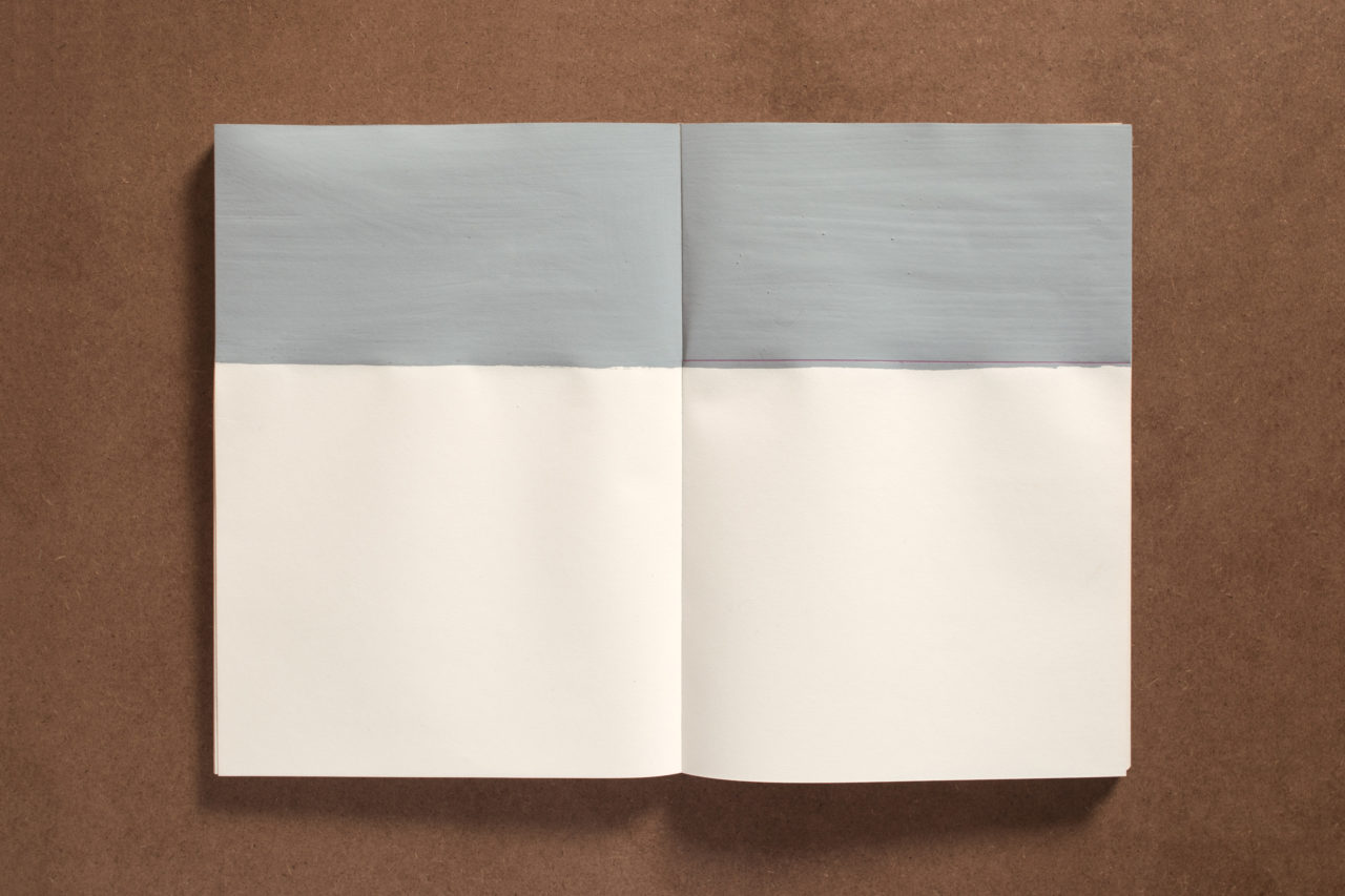 Gabriele Schmidt Heins, untitled (Painted in the smaller portion of the assumed golden section on the pages with gray paint. Then marked the actual golden section with a red pen (17.3:10.3)) (1978)