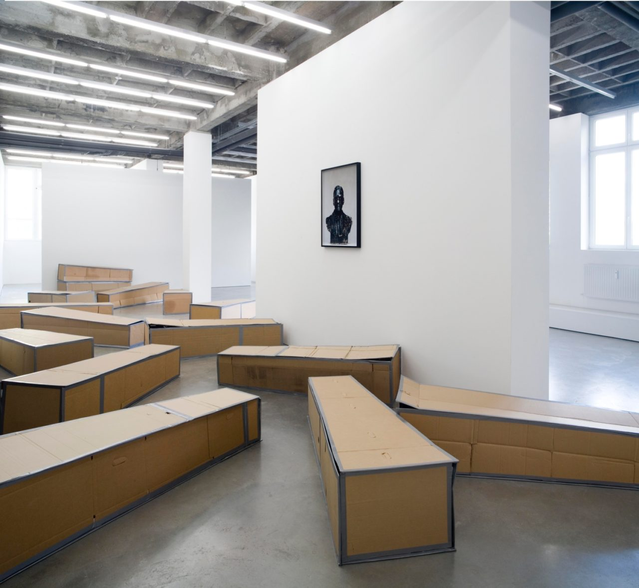Wall: Rodney McMillian, Unknown #12 (2006); Floor: Rodney McMillian, 18 boxes (2006)
