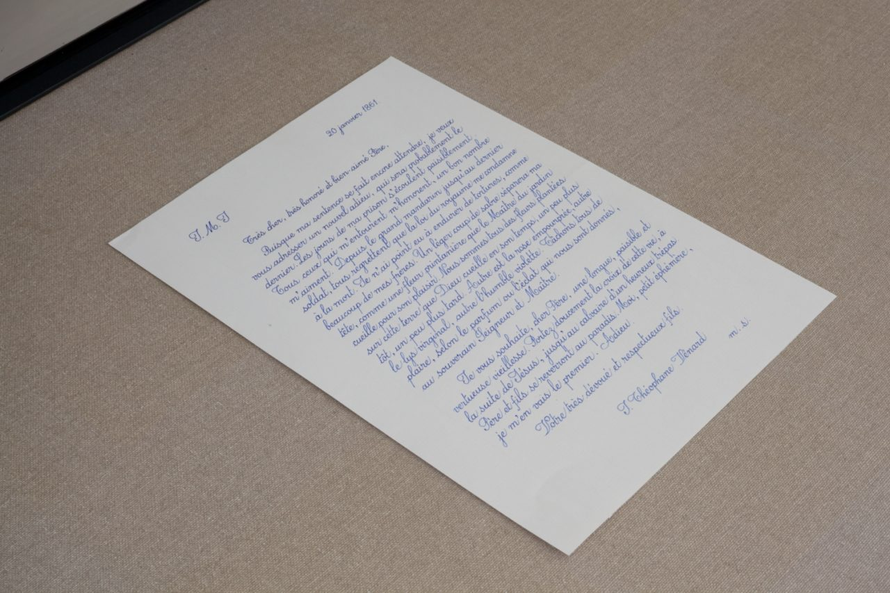 Danh Vō, 20.1.1861 last letter of Saint Théophane Venard to his father before he was decapitated, copied by Phung Vō (2014)