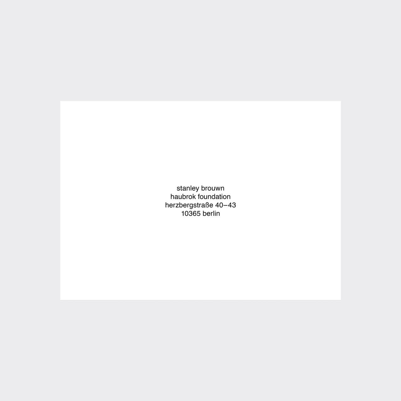 Stanley Brouwn, Stanley Brouwn (Einladungskarte) (2018)