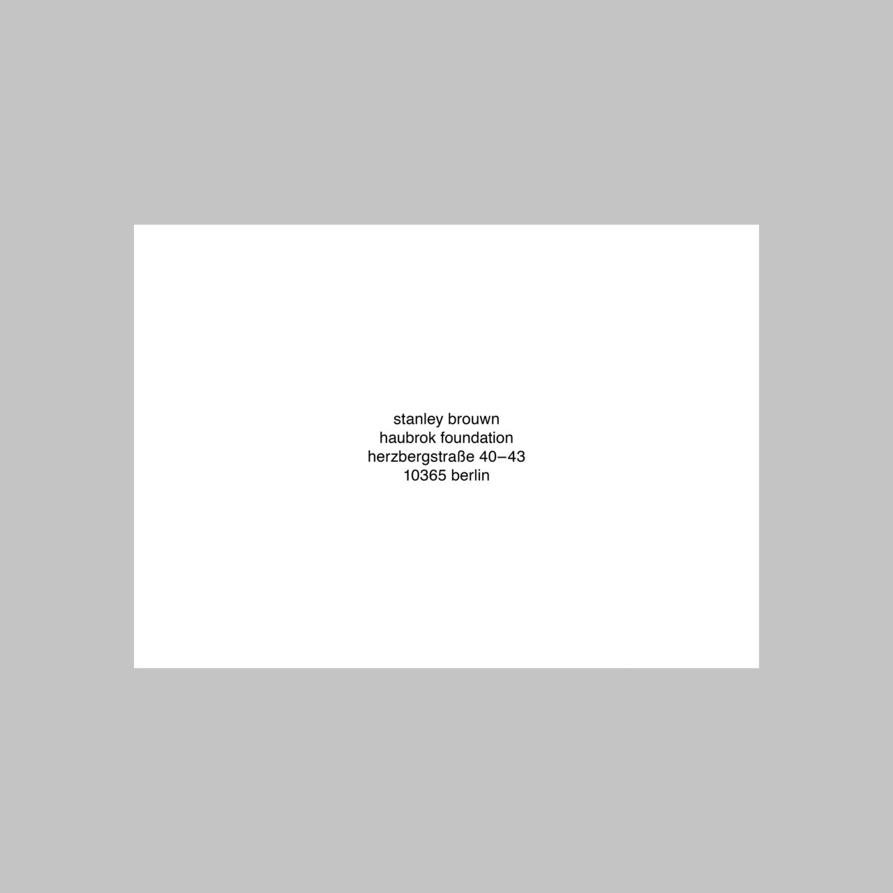 Stanley Brouwn, untitled (Announcement card) (2018)