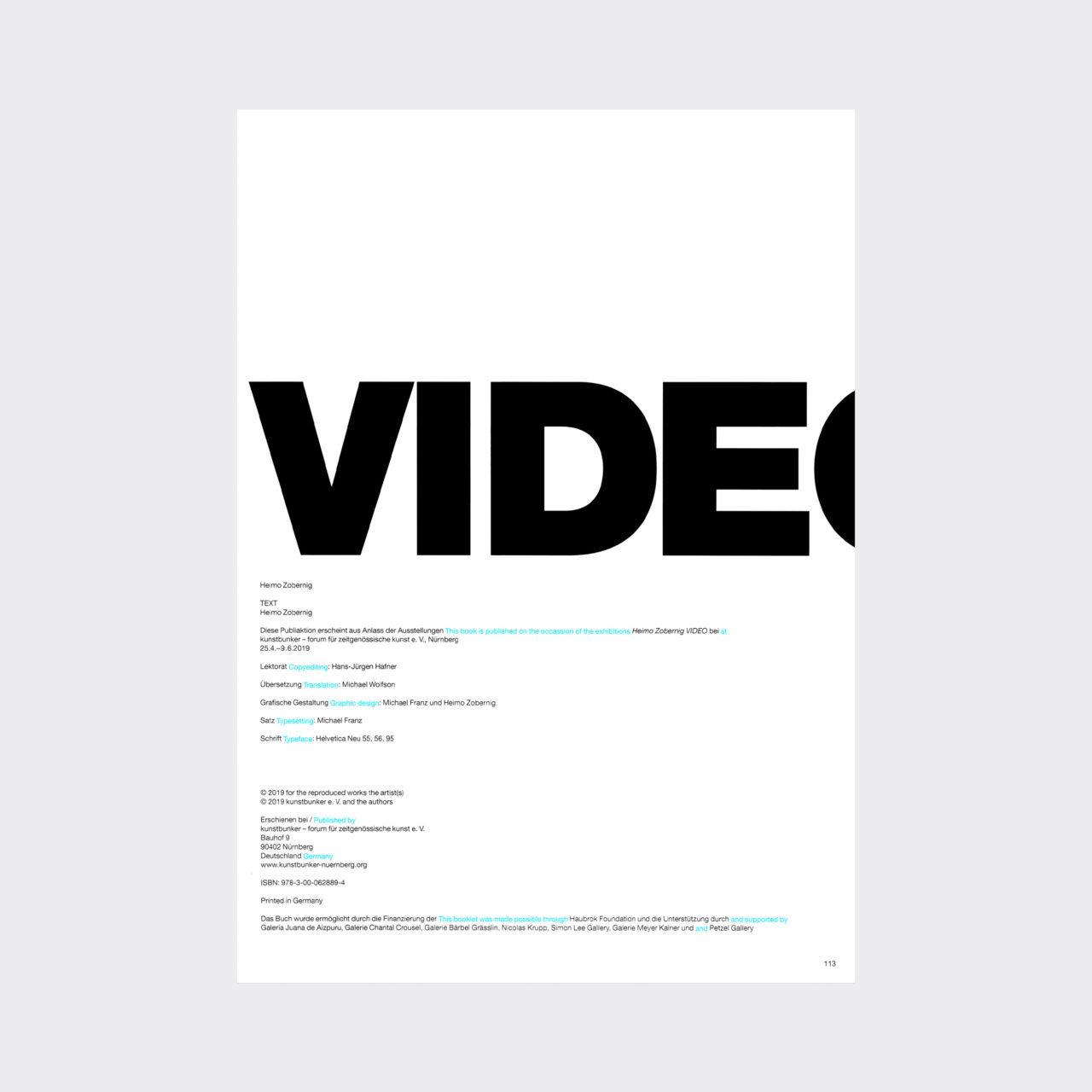 Heimo Zobernig, Video (Publikation kunstbunker Nürnberg) (2019)