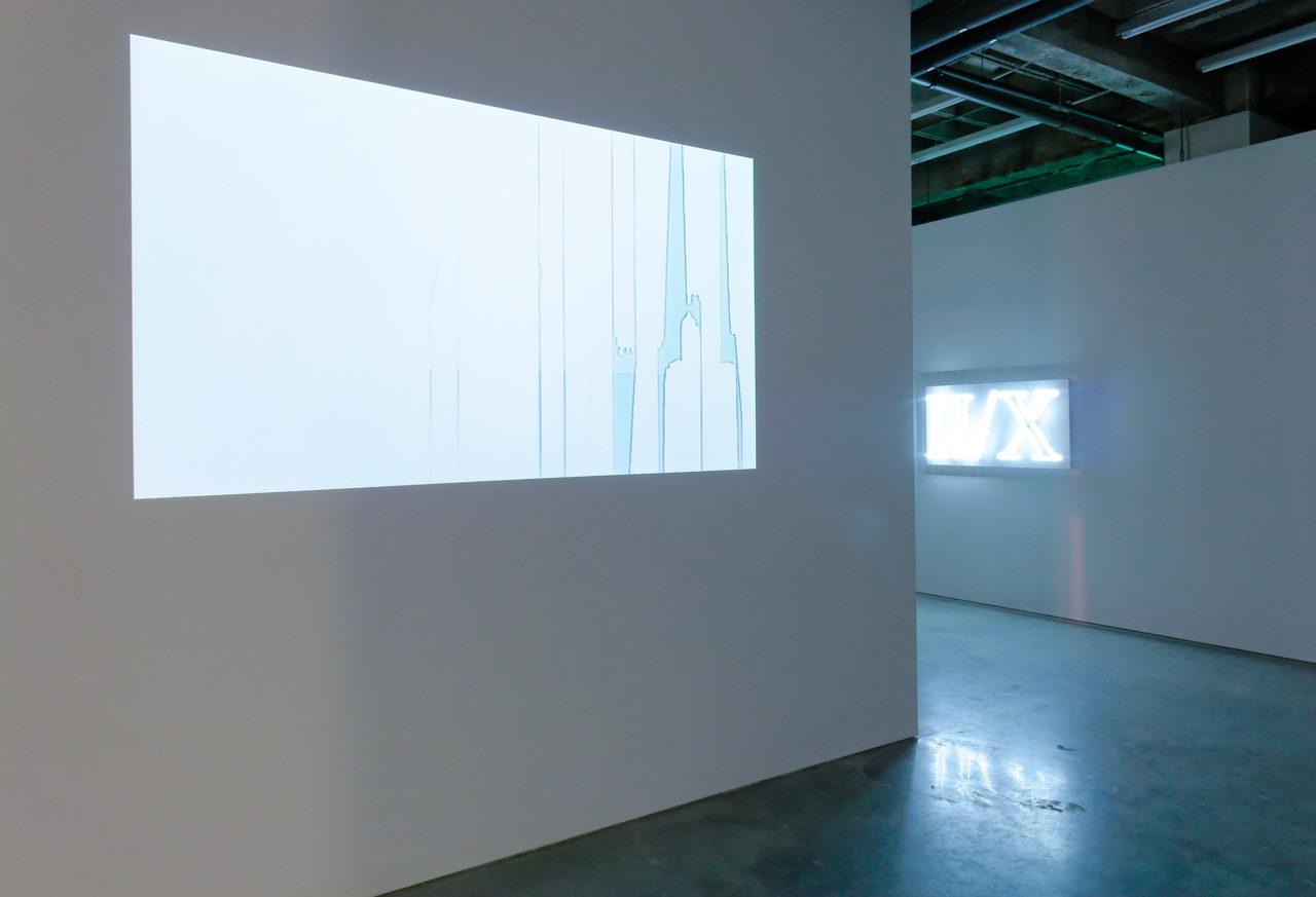 Front: Matt Calderwood, Stripes (Vertical) (2005); Background: Jonathan Monk, II/X (2005)